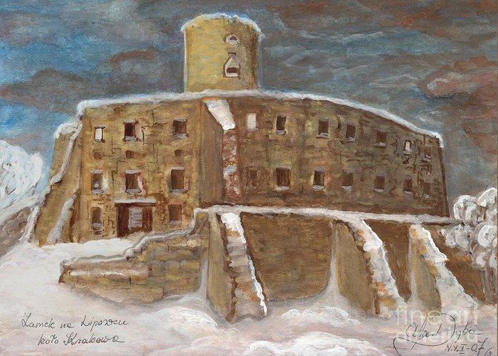 Folkartanna Greeting Card featuring the painting The Castle by Anna Folkartanna Maciejewska-Dyba