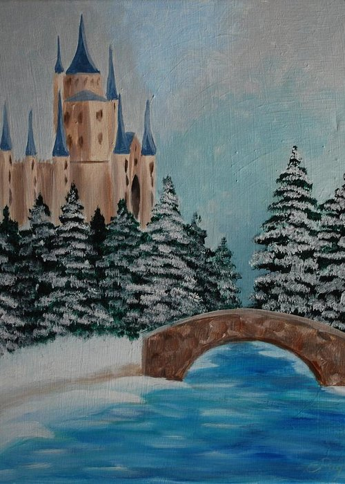 Castle Greeting Card featuring the painting The Castle by Emily Page