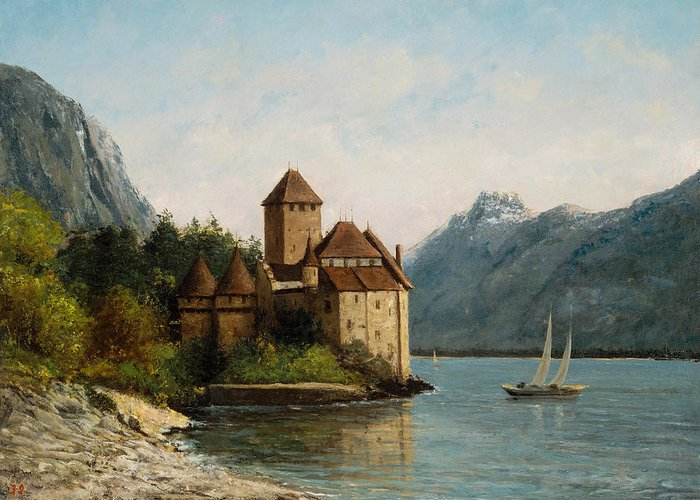 Lake Leman Greeting Card featuring the painting The Castle Of Chillon Evening by Gustave Courbet