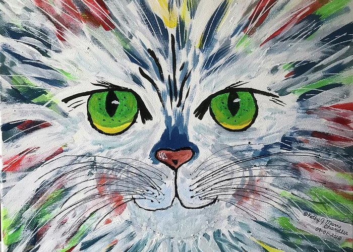 Cat Greeting Card featuring the painting The Cat Got In My Paint by Kathy Marrs Chandler
