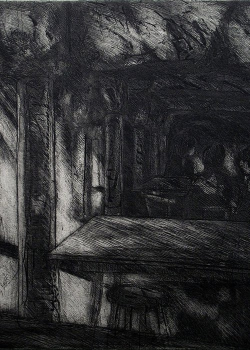 Aquatint Greeting Card featuring the drawing The Catacombs by Richard Wetterer
