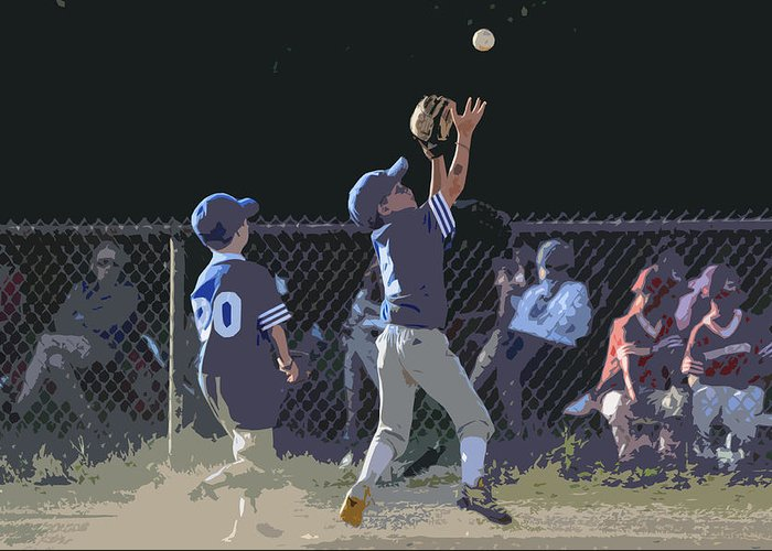 Baseball Greeting Card featuring the photograph The Catch by Peter McIntosh