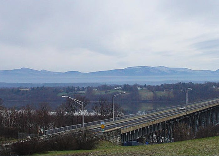 Greene County Greeting Cards Greeting Card featuring the photograph The Catskill Mountains Escarpment Behind The Rip Van Winkle Bridge by Terrance DePietro