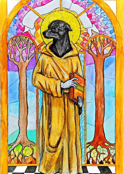 Dog Greeting Card featuring the painting The Cautious Saint by Josean Rivera