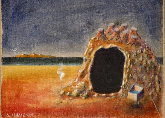 Metaphysacal Greeting Card featuring the painting The Cave Of Orpheas by Dimitris Milionis