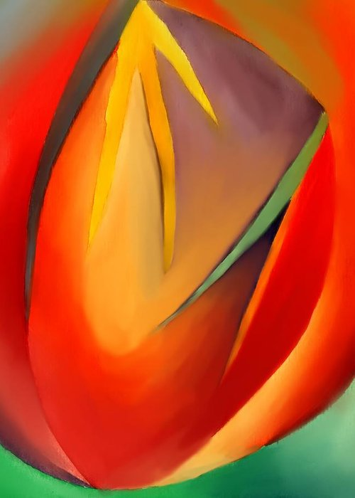 Abstract Greeting Card featuring the painting The Cave by Peter Shor