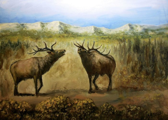 Elk In Colorado Mountains Greeting Card featuring the painting The Challenge by Richard Nervig
