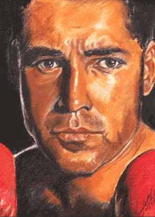 Boxer Greeting Card featuring the painting The Champ - Oscar De La Hoya by Kenneth Kelsoe