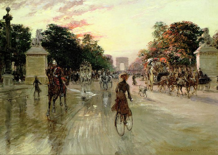 The Greeting Card featuring the painting The Champs Elysees - Paris by Georges Stein