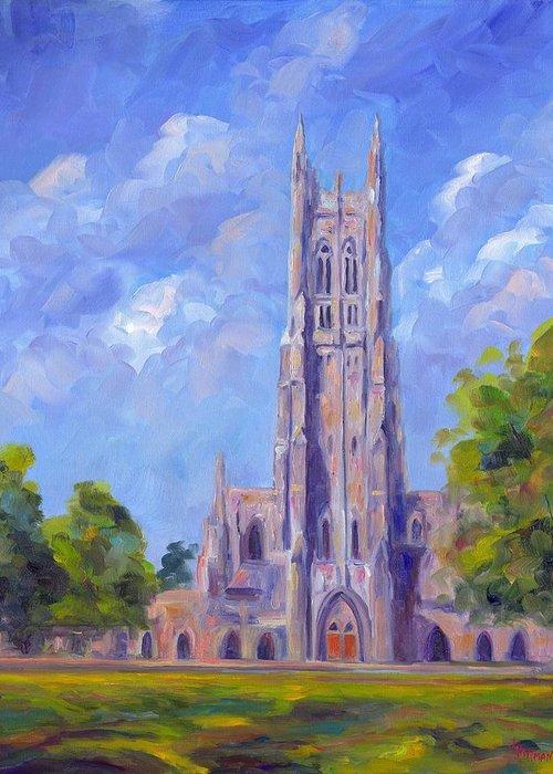 Duke Chapel Greeting Card featuring the painting The Chapel At Duke University by Jeff Pittman