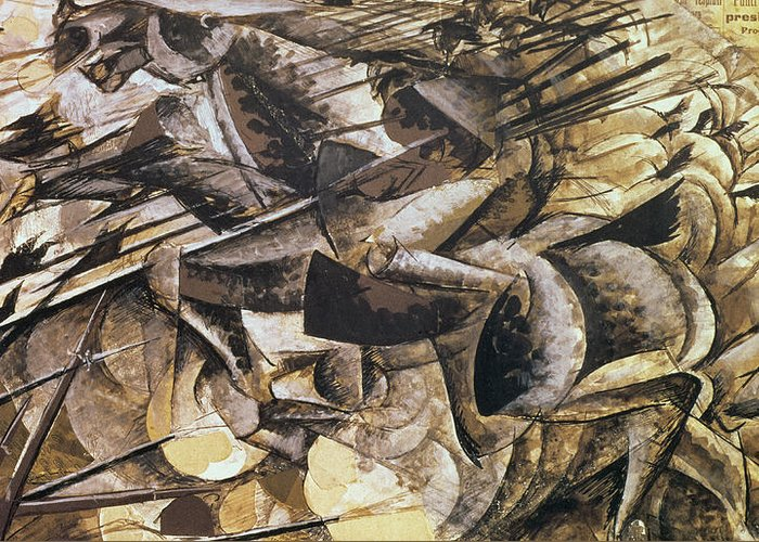 The Charge Of The Lancers Greeting Card featuring the painting The Charge Of The Lancers by Umberto Boccioni