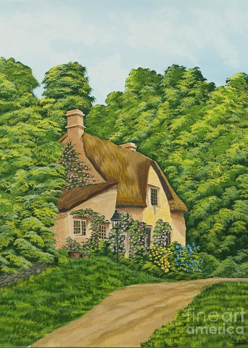 Cottage Greeting Card featuring the painting The Charm Of Wiltshire by Charlotte Blanchard