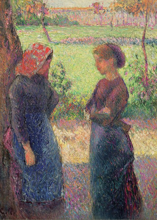 The Greeting Card featuring the painting The Chat by Camille Pissarro