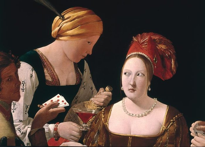 The Cheat With The Ace Of Diamonds Greeting Card featuring the painting The Cheat With The Ace Of Diamonds by Georges de la Tour