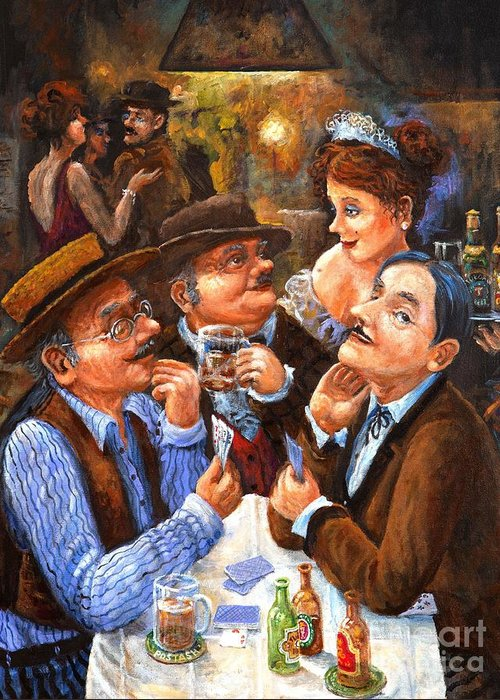 Figurative Greeting Card featuring the painting The Cheater by Igor Postash