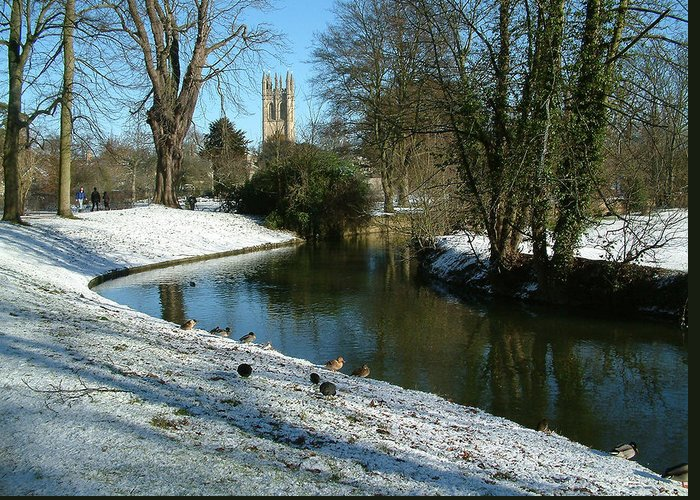 Ancient Greeting Card featuring the photograph The Cherwell. by Mike Lester