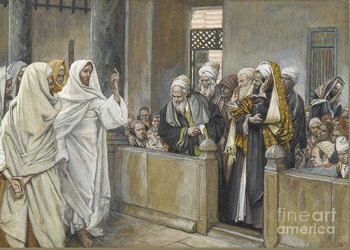 Pharisees;tissot Greeting Card featuring the painting The Chief Priests Ask Jesus By What Right Does He Act In This Way by James Jacques Joseph Tissot