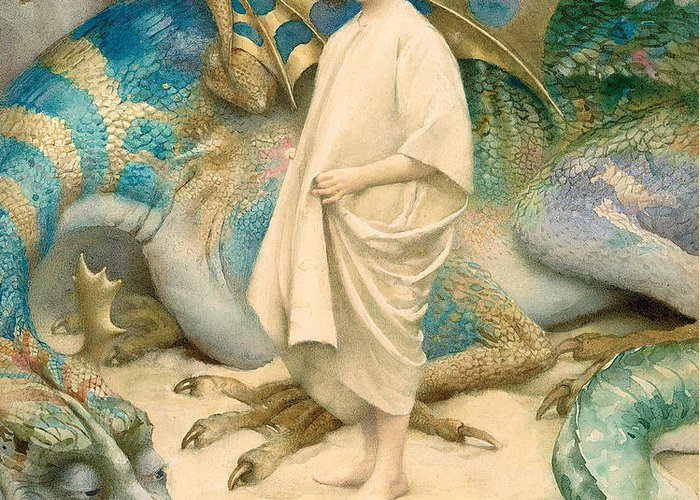 Dragon; Unafraid; Young Girl; Portrait; Fearless; Unaware; Danger; Victorian; Innocent; Monster; Dragon Greeting Card featuring the painting The Child In The World by Thomas Cooper Gotch