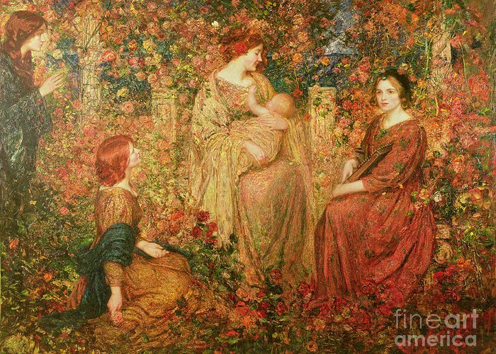 The Greeting Card featuring the painting The Child by Thomas Edwin Mostyn
