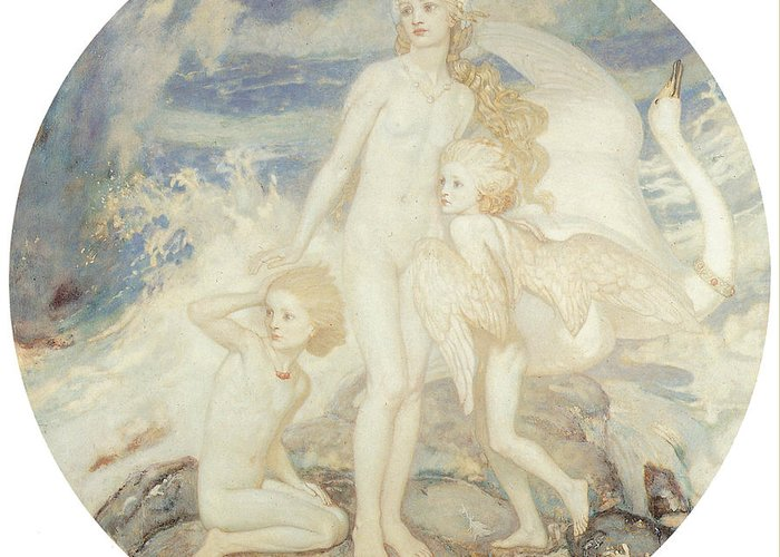 John Duncan Greeting Card featuring the painting The Children Of Lir by John Duncan