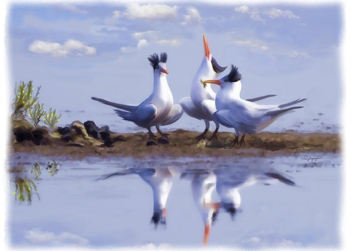 Tern Greeting Card featuring the digital art The Chorus by Thanh Thuy Nguyen