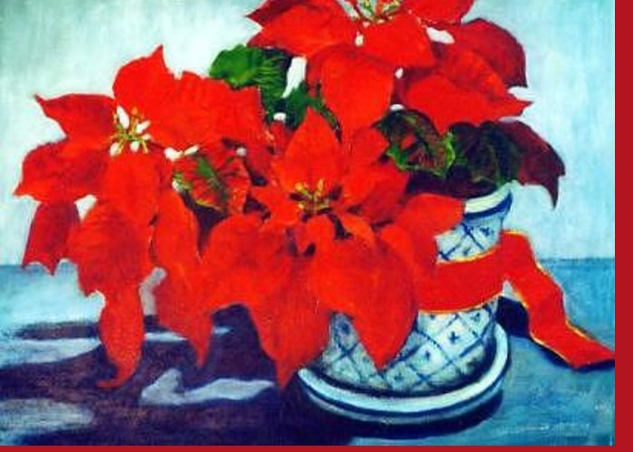 Flower Pointsettia Greeting Card featuring the painting The Christmas Gift by Helen Hickey