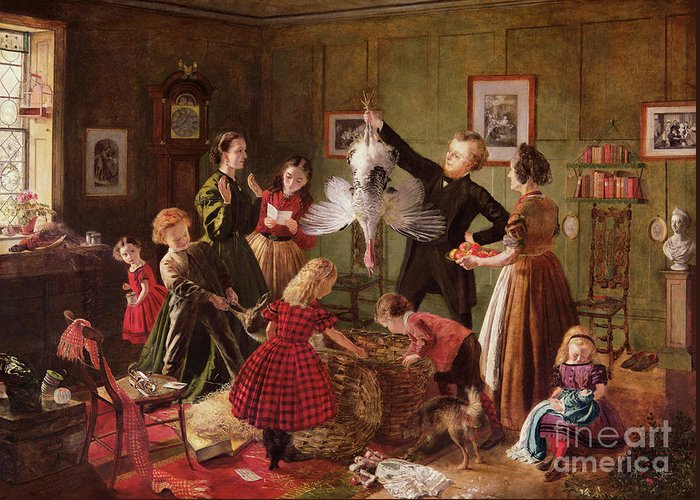 The Greeting Card featuring the painting The Christmas Hamper by Robert Braithwaite Martineau