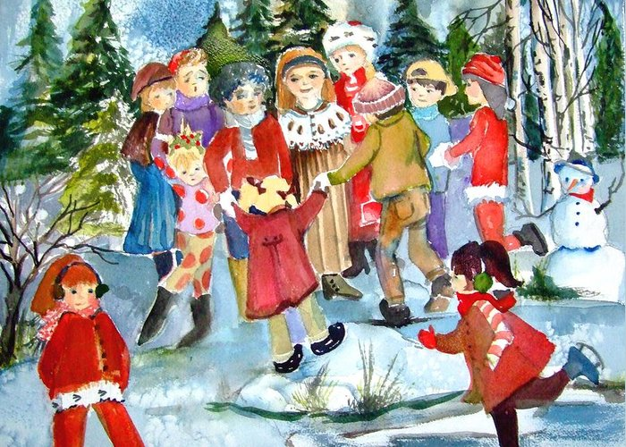 Christmas Greeting Card featuring the painting The Christmas Party by Mindy Newman