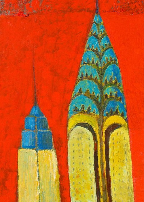 Greeting Card featuring the painting The Chrysler And The Empire State by Habib Ayat