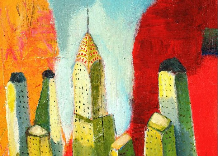 Abstract Cityscape Greeting Card featuring the painting The Chrysler In Colors by Habib Ayat