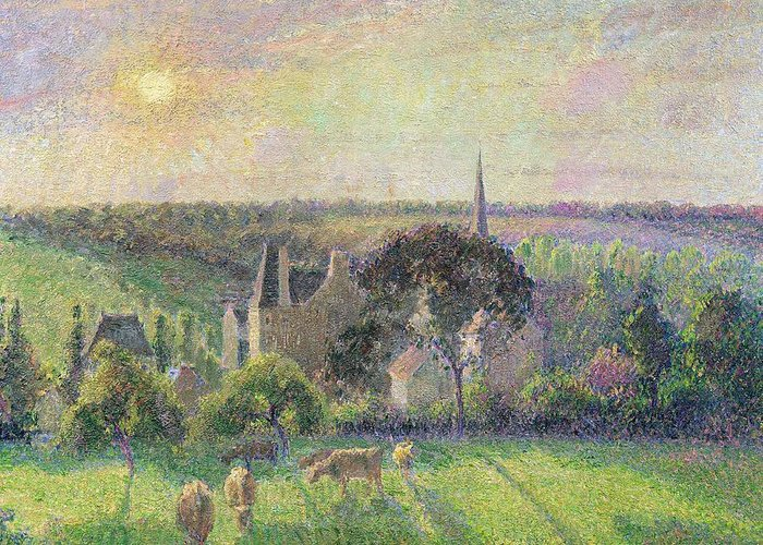 The Greeting Card featuring the painting The Church And Farm Of Eragny by Camille Pissarro