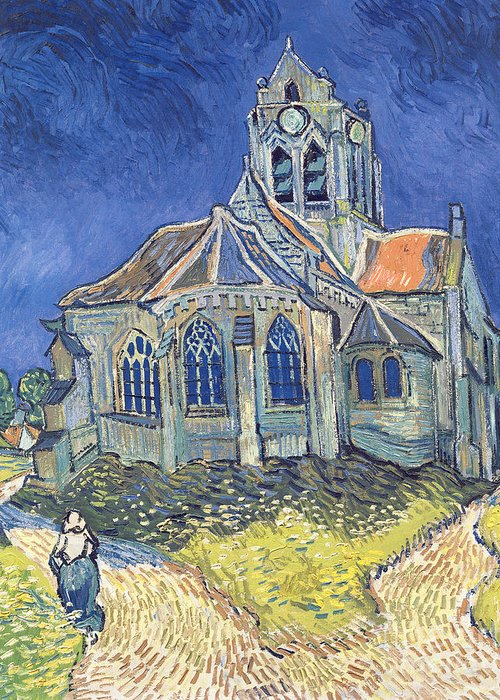 The Greeting Card featuring the painting The Church At Auvers Sur Oise by Vincent Van Gogh