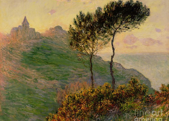 The Church At Varengeville Greeting Card featuring the painting The Church At Varengeville Against The Sunlight by Claude Monet