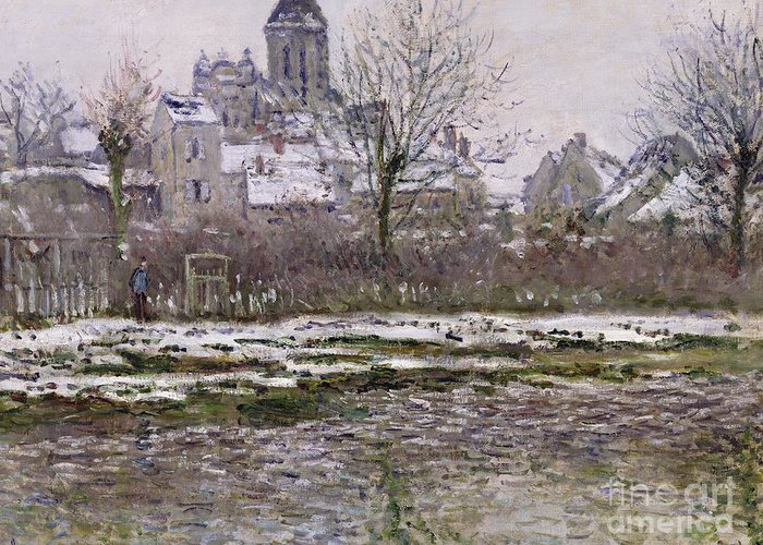 The Greeting Card featuring the painting The Church At Vetheuil Under Snow by Claude Monet