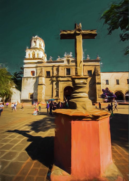 Michael Setiabudi Greeting Card featuring the photograph The Church Of San Juan Bautista Of Coyoacan 2 by Michelle Saraswati