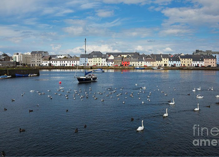 Claddagh Greeting Card featuring the photograph The Claddagh Galway by Gabriela Insuratelu