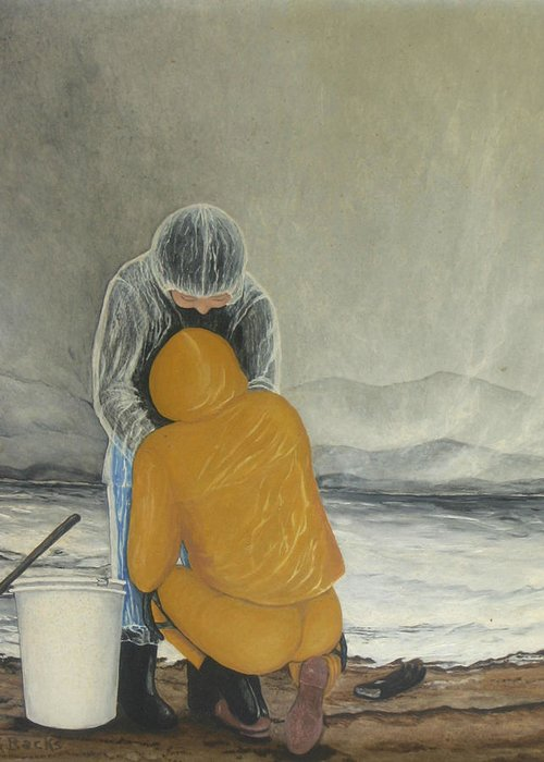Figurative Greeting Card featuring the painting The Clamdigger by Georgette Backs