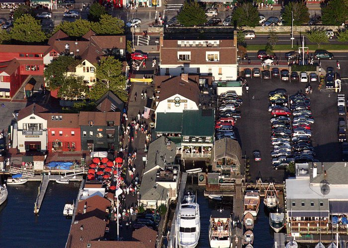 The Clarke Cookhouse Bannister's Wharf Newport Ri 02840 Aerial Greeting Card featuring the photograph The Clarke Cook House Restaurant P.o. Box 249 Bannisters Wharf Newport Ri 02840 by Duncan Pearson