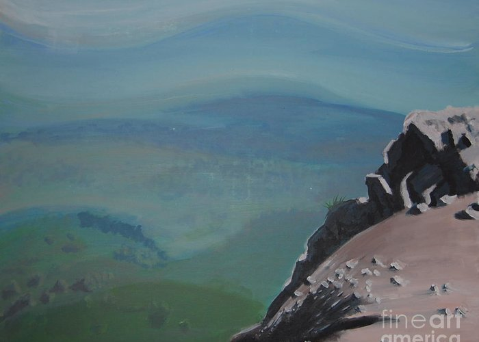 Landscape Greeting Card featuring the painting The Cliff by Stan Levine