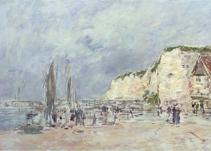 The Greeting Card featuring the painting The Cliffs At Dieppe And The Petit Paris by Eugene Louis Boudin