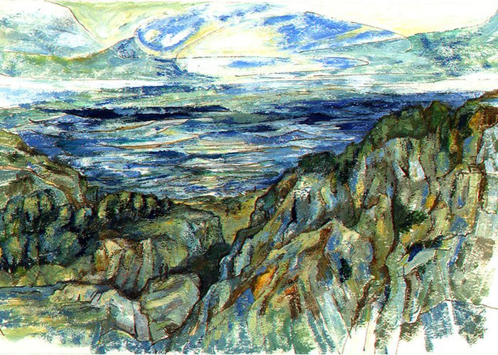Ocean Greeting Card featuring the painting The Cliffs by Lily Hymen