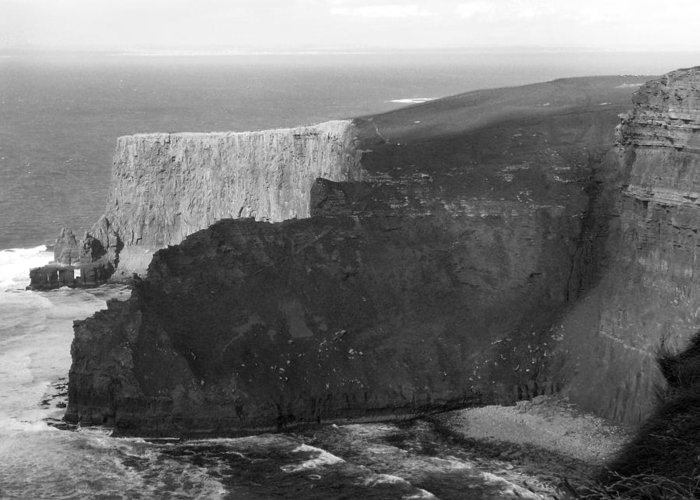 Atlantic. Cliffs Greeting Card featuring the photograph The Cliffs Of Mohar II - Ireland by Mike McGlothlen