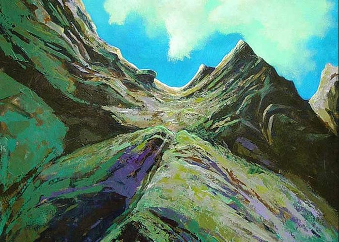 Landscape Greeting Card featuring the painting The Climb by Dale Witherow