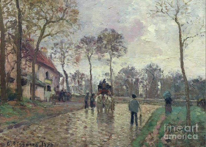 The Greeting Card featuring the painting The Coach To Louveciennes by Camille Pissarro