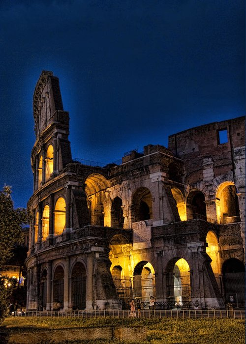 Coleseum Greeting Card featuring the photograph The Coleseum In Rome At Night by David Smith