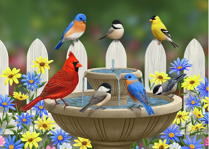 Birds Greeting Card featuring the painting The Colors Of Spring - Bird Fountain In Flower Garden by Crista Forest