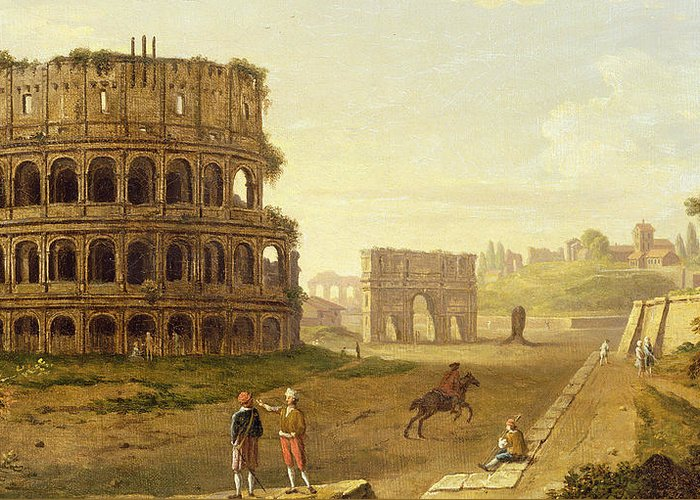 The Colosseum Greeting Card featuring the painting The Colosseum by John Inigo Richards