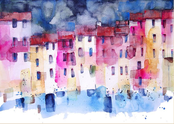 Architecture Greeting Card featuring the painting The coloured houses of Portofino by Alessandro Andreuccetti