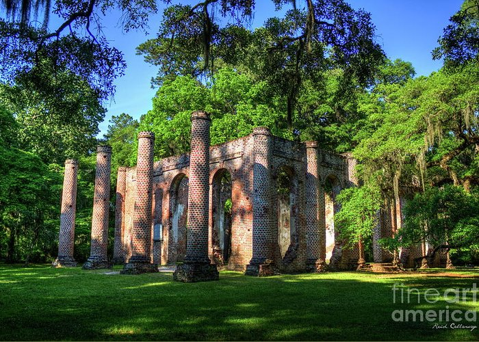 Reid Callaway Old Sheldon Church Art Greeting Card featuring the photograph The Columns Old Sheldon Church Ruins by Reid Callaway