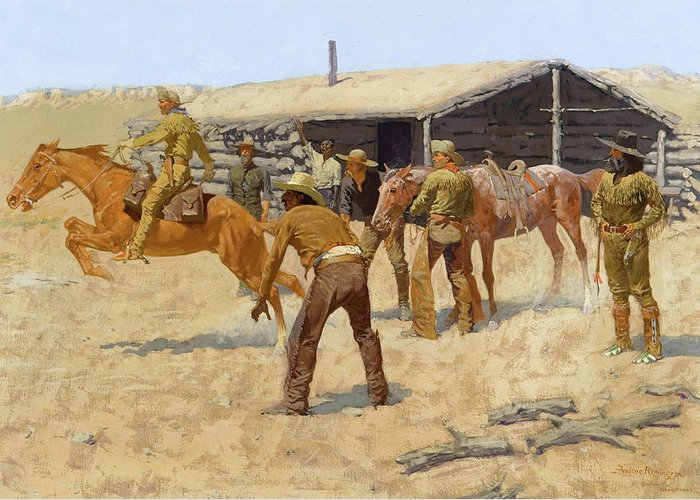 Coming Greeting Card featuring the painting The Coming And Going Of The Pony Express by Frederic Remington